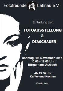 Einladung Jahresausstellung 2017 der Fotofreunde Lahnau